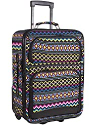 Ever Moda Black Aztec 20-inch Expandable Carry On Rolling Luggage