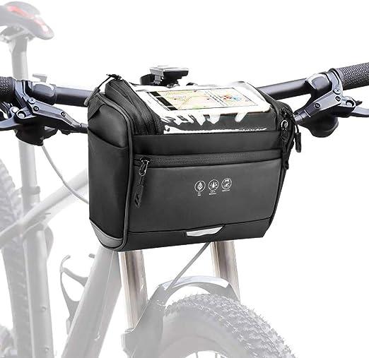 Bolso de la bici del bolso del manillar de la pantalla táctil Ventana bicicleta cesta delantera de la bicicleta bolsa de almacenamiento desmontable con correa de hombro Viajar para al aire libre: