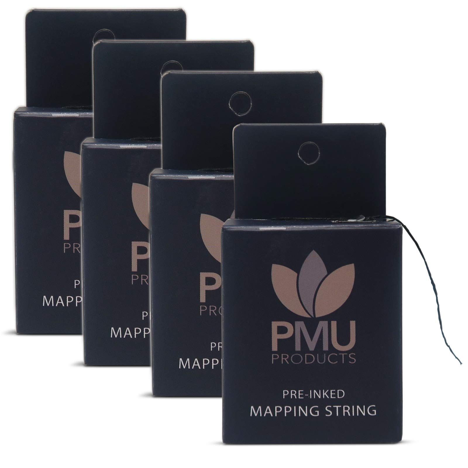 PMU THE ORIGINAL Pre-Inked Microblading String for Brow Mapping - Measuring Tool for Marking Symmetrical Eyebrows (Pack of 4)