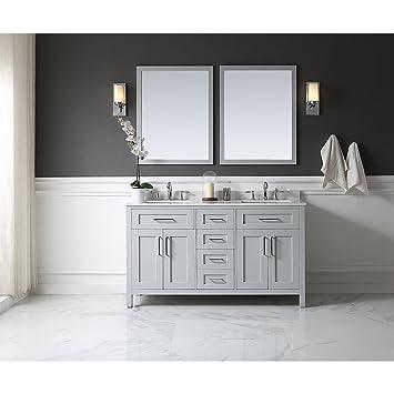 ove decors tahoe 60g quartz top bathroom double sink vanity 60inch by 21