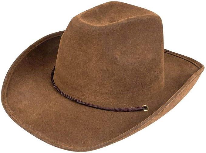 NERO In Finta Pelle Scamosciata Cowboy Cappello e Paisley Bandana Wild West Costume