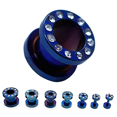 Expansor Túnel Tunnel Plug Piercing y Dilatador Taper Piercing Oreja Azul Strass con piedras 1,6-10 mm, color:Set Tunnel blau / blue: Amazon.es: Joyería