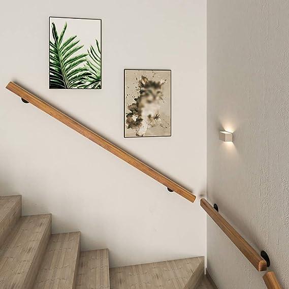 GJIF Barandilla de escalera Baranda, antideslizante de la Ronda de madera sólida barandilla carril, Caja de pasamanos con soportes de pared pino, cubierta Loft ancianos Corredor Pasamanos de apoyo de: Amazon.es: Bricolaje