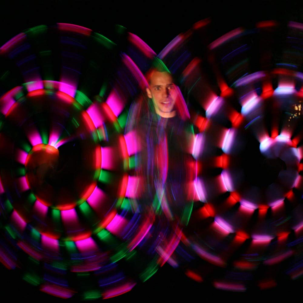 Speevers LED Poi Optic Fiber Poi for Professionals - Exciting Light Show and Fast USB Charge - Strobe & Fade Light Programs - LED Prop for Spinners 1 Year Warranty by Speevers (Image #6)