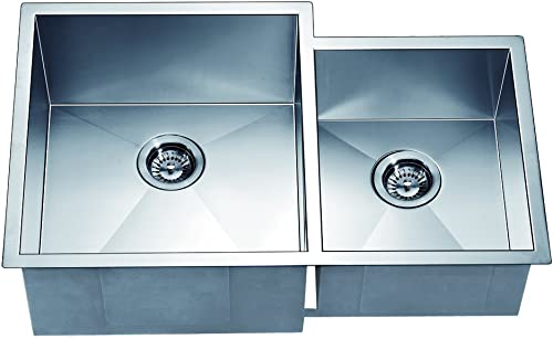 Dawn DSQ311815 Undermount Double Bowl Square Sink, Polished Satin