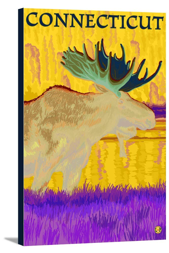 Connecticut – Moose in the Moonlight 24 x 36 Gallery Canvas LANT-3P-SC-19527-24x36 24 x 36 Gallery Canvas  B0184ASXEC