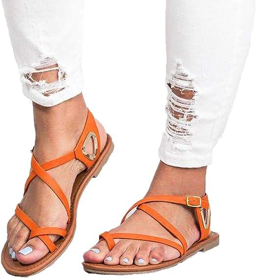 Hot Sale Roman Women/'s Leather Cross Lace Up Sandals Flats Gladiator Shoes Size