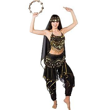 NET TOYS Traje de Bailarina de Danza del Vientre - Negro | Disfraz ...