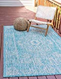 Unique Loom Outdoor Traditional Collection Distressed Vintage Medallion Transitional Indoor and Outdoor Flatweave Light Aqua  Area Rug (4' 0 x 6' 0)