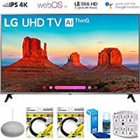 LG 65UK7700PUD 65 Class 4K HDR Smart LED AI UHD TV w/ThinQ 2018 Model (65UK7700PUD) with Google Home Mini, 2x 6ft HDMI Cable, Screen Cleaner for LED TVs & 6-Outlet Surge Adapter