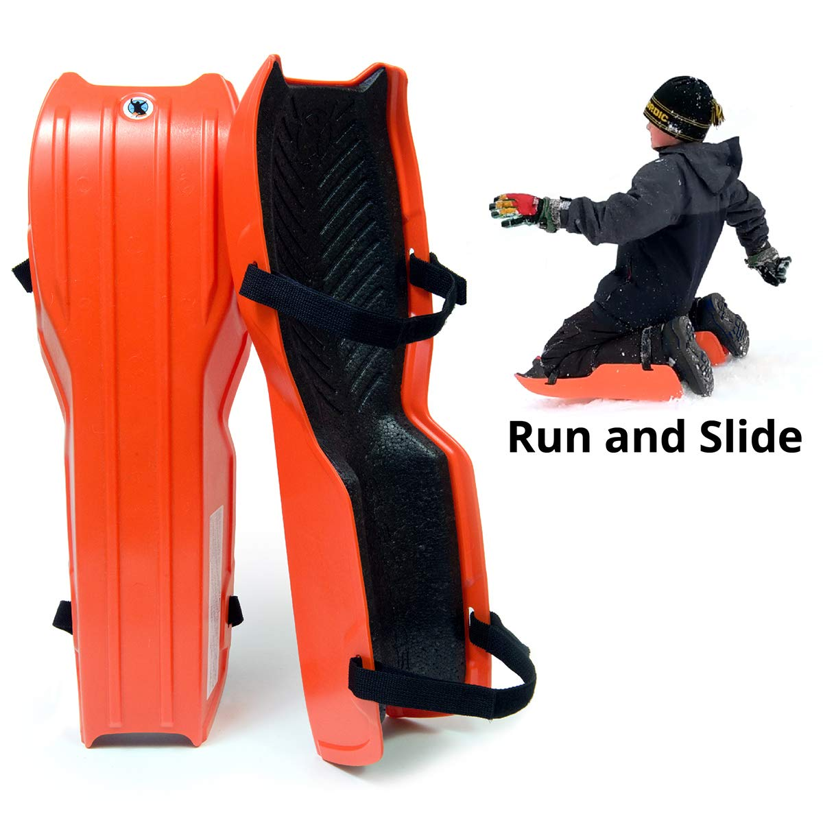 Sled Legs Wearable Snow Sleds - Fun Winter Accessories with Leg Support - Family Friendly Winter Activities - Exciting Winter Fun in The Snow (Hot Orange, Small) ... by Sled Legs