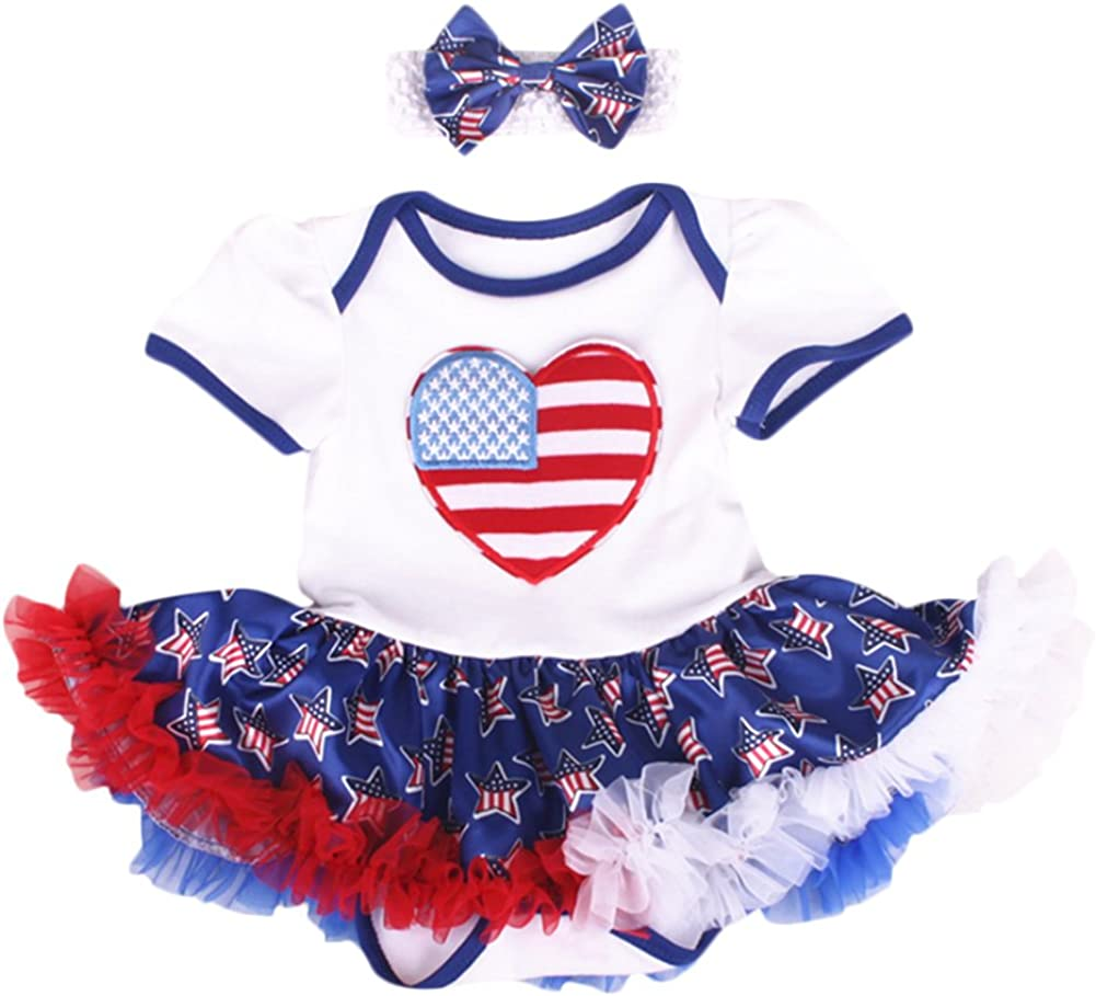 FYMNSI Newborn Baby Girls 4th of July Independence Day Outfits Photo Shoot USA Flag Romper Dress with Headband