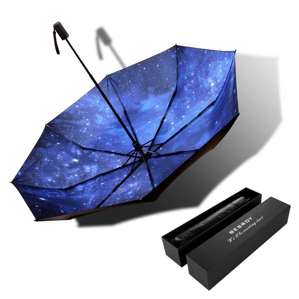 High grade portable sun umbrella, black glue anti UV coating, aluminum alloy umbrella holder, gift boutique, outdoor sunshade, sun block, rain, black umbrella with blue sky bottom.give present
