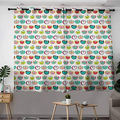 DGGO Kids Curtains,Apple Retro Style Fruit Illustration Youthful Childish Food Organic Eating Kids Design,Curtains for Living Room,W63x72L Multicolor
