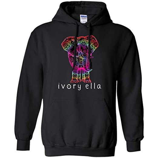 af26dc78c Amazon.com  Ivory Ella Elephant Graphic Print Pullover Hoodie 8 oz.   Clothing