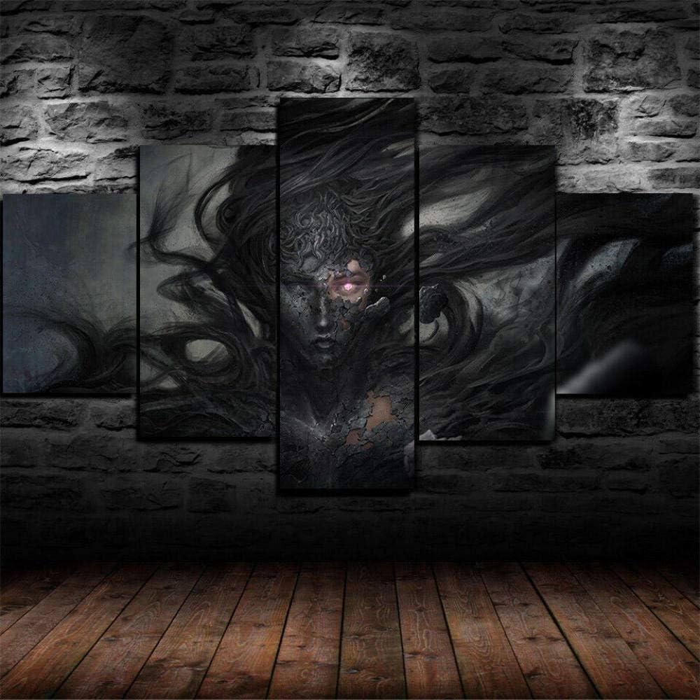 BAEPAYF Cuadro sobre Impresión Lienzo 5 Piezas Listo para Colgar un Marco Bruja Fantasía Demonio Oscuro Hd Arte De Pared Modulares Sala De Estar Dormitorios Decoración Para El Hogar Póster