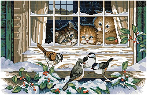Crossdecor Stamped Cross Stitch with Pre-printed Pattern 11 Count Easy Kits, Landscape Out of The Window (No Frame)