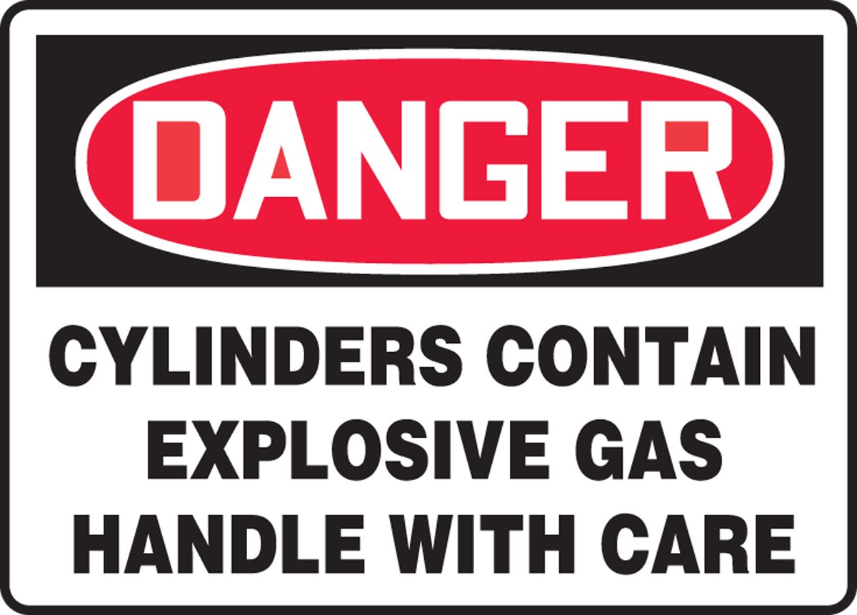 LegendDanger CYLINDERS Contain Explosive Gas Handle with Care 10 Length x 14 Width Accuform MCPG009VA Aluminum Sign Red//Black on White