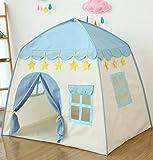 キッズテント 子供テント 子供用テント kids tent 睡眠テント ベビー プレイ ハウス トイ インドア 女の子 小さなお城 折り畳み式 テント 玩具収納 子供秘密基地 収納バッグ付きお誕生日 出産祝いのプレゼント (ブルー)