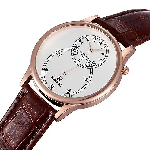 Los relojes de los hombres de distintos Skone con cinco tipos de relojes de pulsera de cuero de la segunda esfera SJ506404: Amazon.es: Relojes
