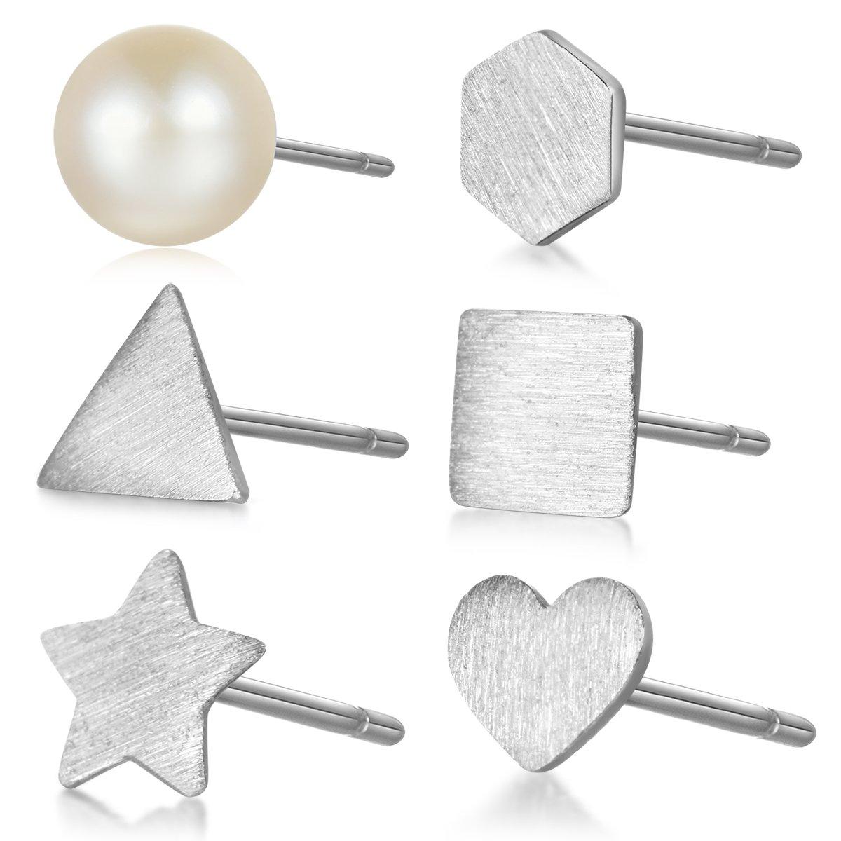 MASOP Hypoallergenic 925 Sterling Silver Tiny Stud Earrings Set for Cartilage Women Men 6 Pcs