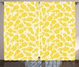 Ambesonne Yellow Decor Curtains, Yellow Cute African Pineapple Fruit Pattern with Dots and Little Circles, Living Room Bedroom Window Drapes 2 Panel Set, 108 W X 84 L Inches, White and Yellow