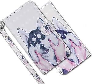 MRSTER Funda para Samsung Galaxy J3 2016, 3D Brillos Carcasa Libro Flip Case Antigolpes Cartera PU Cuero Funda con Soporte para Samsung Galaxy J3 2016. RX 3D Husky