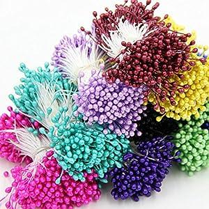Stamen Mini Pearl Flower Floral for DIY Cake Wedding Decoration Artificial Flowers Double Heads DIY Silk Flowers Pistil 1mm Floral Fake Flowers 1Bundle=(1200PCS) 83
