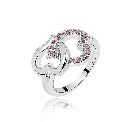 Fingerring  Amazon.com: Qiyun New Arrival Heart To Heart Diamond Crystal Ring ...
