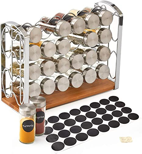 Ezoware 4 Tier Spice Rack Stand With 24 Empty Glass Bottles Jar Metal Lid And Blank Chalkboard Label Set For Countertops Cabinets Kitchen Pantry Silver Home Improvement