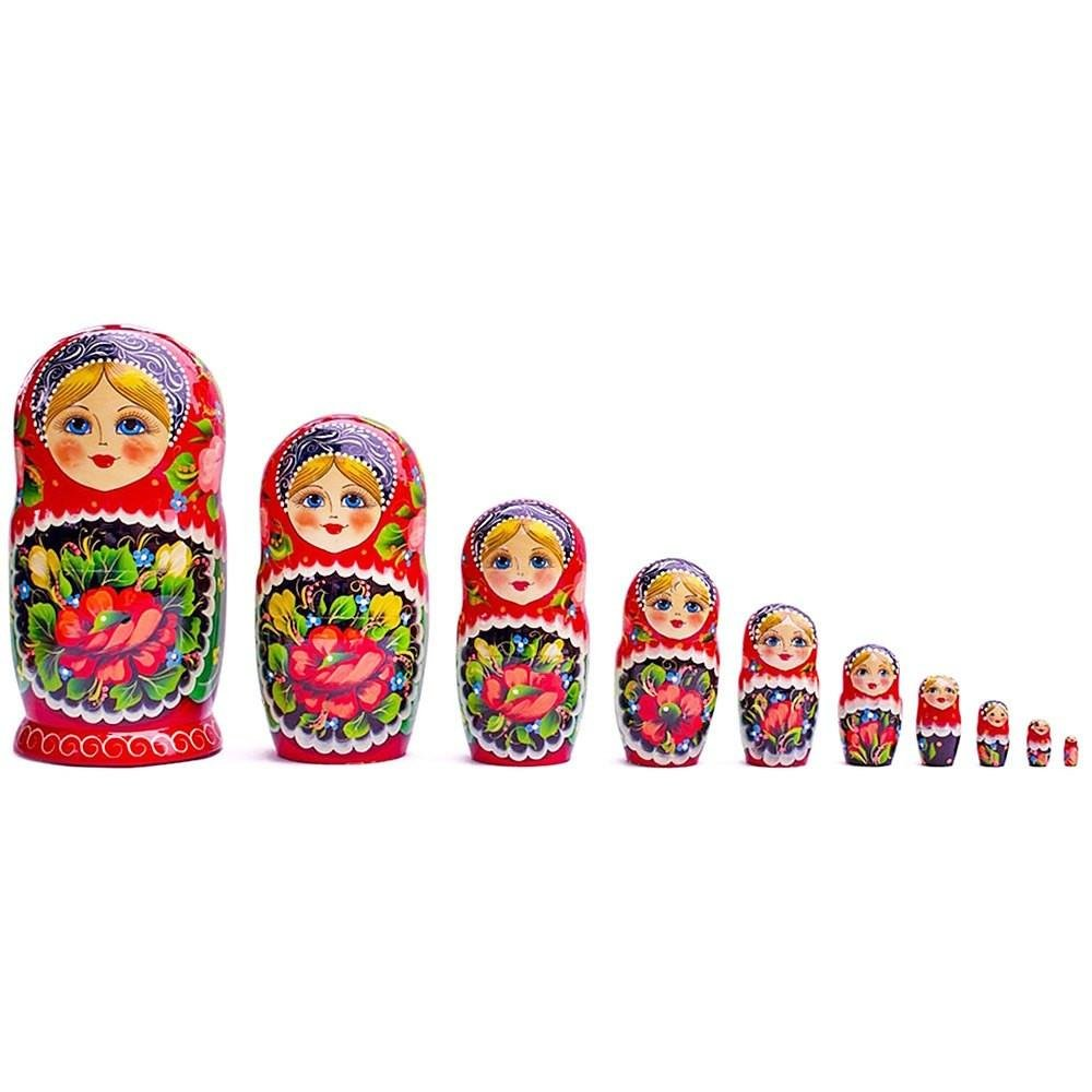 11'' Set of 10 Girls in Floral Scarfs Wooden Russian Nesting Dolls