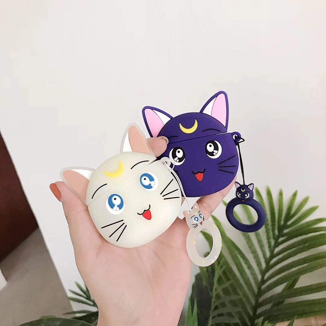 Purple Luna Cat Mulafnxal Compatible with Airpods 1/&2 Case,Silicone 3D Cute Animal Fun Cartoon Character Airpod Cover,Kawaii Funny Fashion Design Skin,Shockproof Cases for Teens Girls Boys Air pods