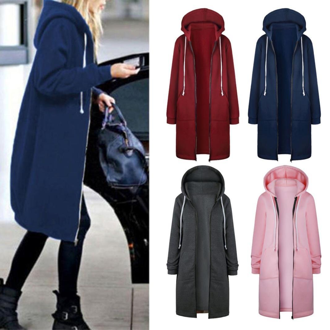Women's Autumn Winter Fashion Warm Sweatshirt, LLguz Zipper Hoodies Long Sleeves Coat Jacket Pockets Outwear (XXXL, Blue) by LLguz (Image #5)
