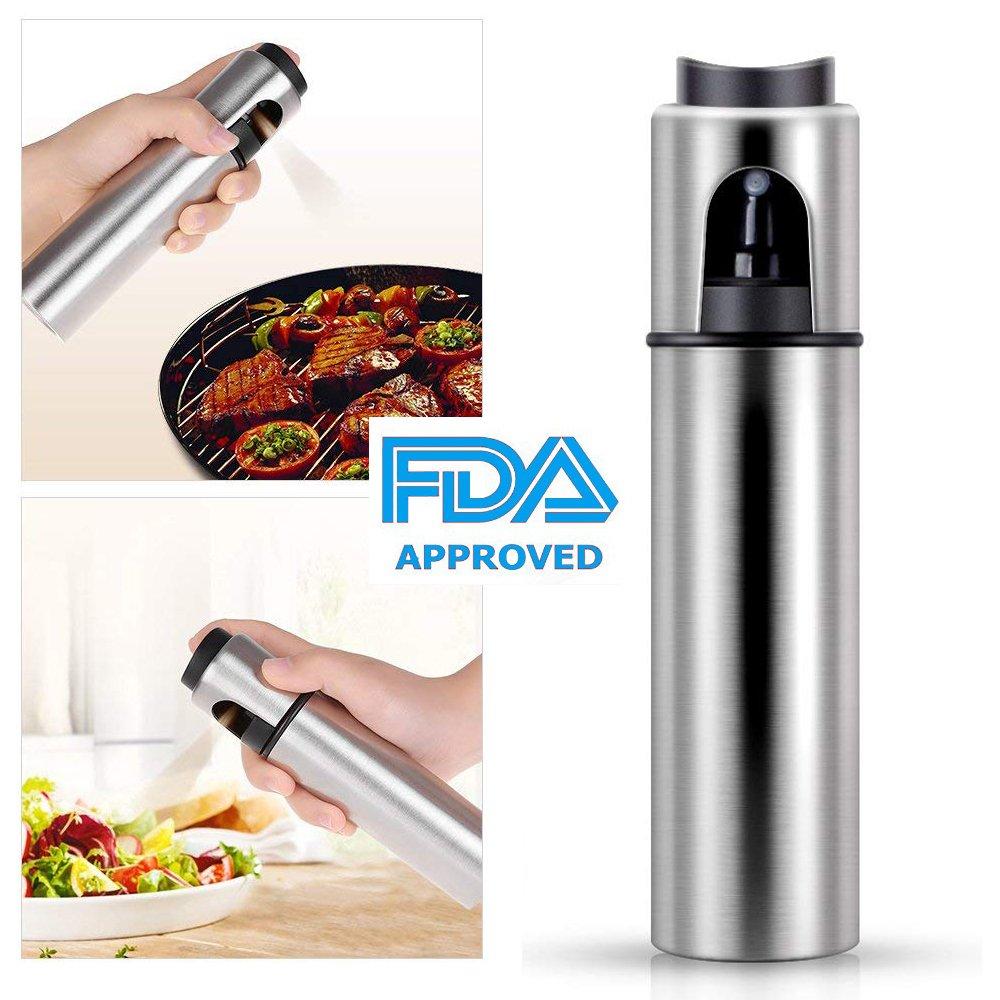 Olive Oil Sprayer, Oil Spray Vinegar Bottle, Food-grade Cooking Spray, Oil Mister Oil Dispenser for BBQ, Frying, Salad, Baking with Pump, 3.42 oz Stainless Steel