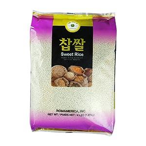 ROM AMERICA Sweet Rice Sticky Rice Glutinous Rice 4 Pound 찹쌀