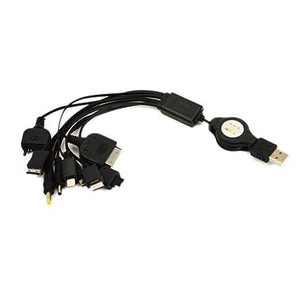 THT Trade 10in1 - Cargador USB universal para móvil y reproductor de mp3 (10 conectores), negro