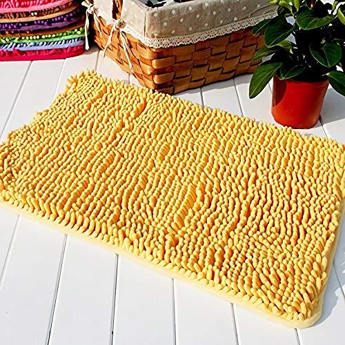 Hughapy Yellow Non Slip Microfiber Carpet Doormat Floor Mat Bedroom Kitchen Shaggy Area Rug Carpet (23.6 x 15.7 inches)