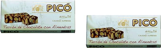 Picó - Pack incluye 2 Turron de Chocolate y Almendras, Turron duro ...