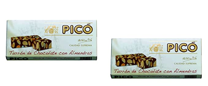 Picó - Pack incluye 2 Turron de Chocolate y Almendras, Turron duro sin azúcares añadidos