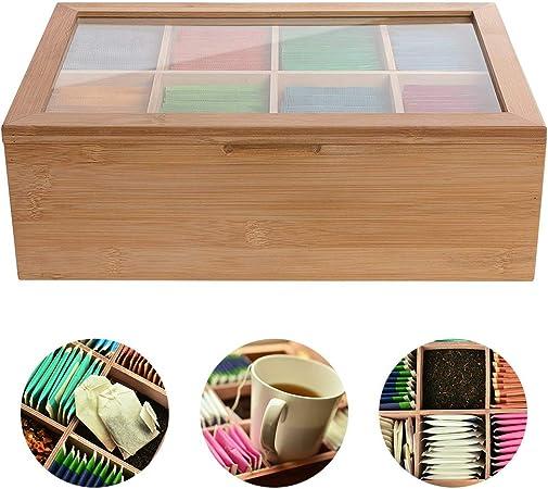 Konesky Caja de Té, 8 Compartimentos Multifuncion Organizador de Caja de Almacenamiento de Té de Madera de Bambú con Tapa Transparente Perfecto para Regalo y Decoración del Festival: Amazon.es: Hogar