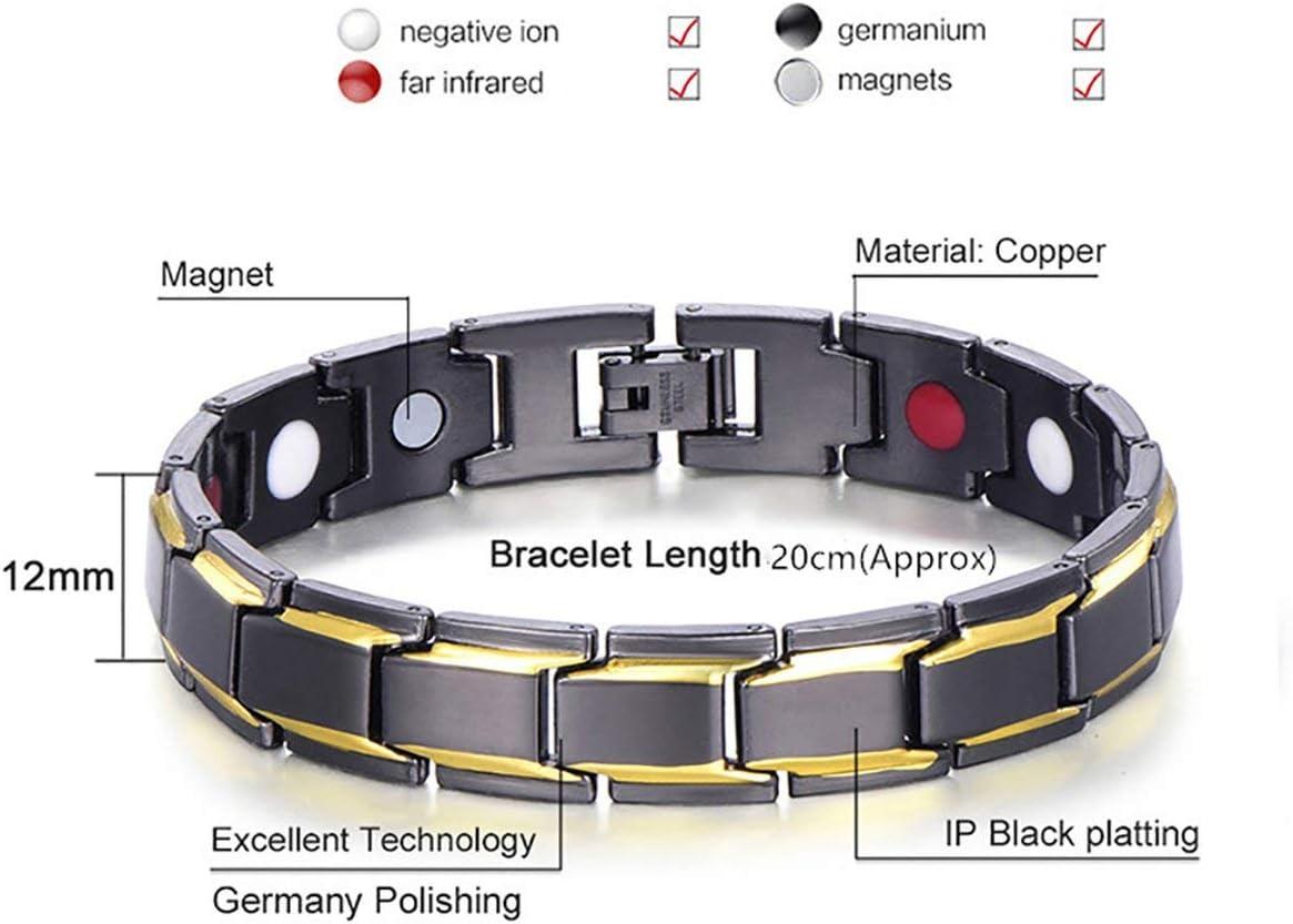 Yuio KY0515 Bracelet magn/étique en acier titane et h/ématite magn/étique pour homme Noir et or YUIO-0609