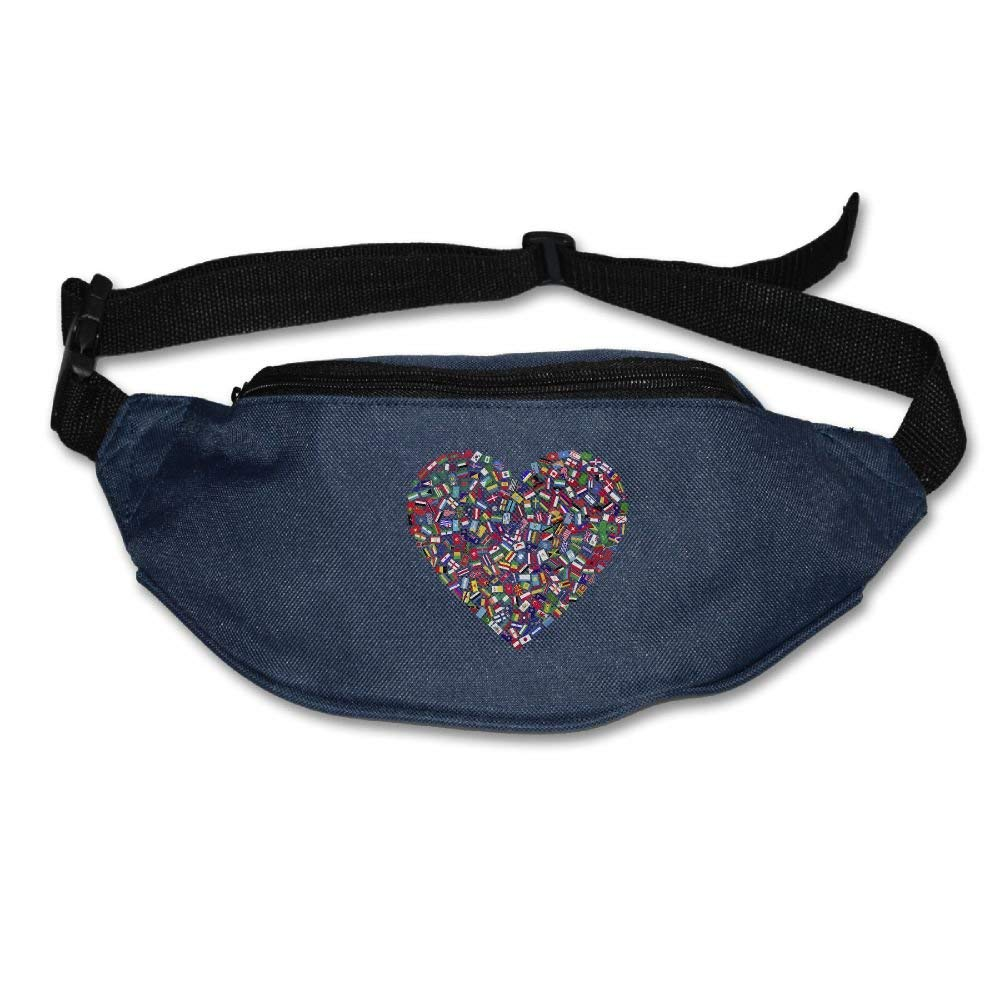PVASAFS Yahui Heart Flags Countries Waist Bag Fanny Pack//Hip Pack