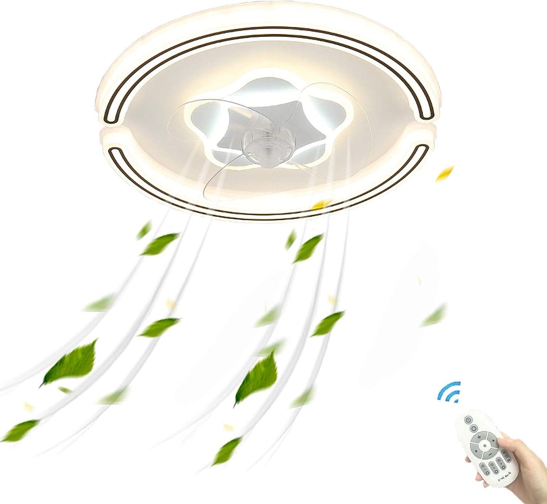 Plafon Ventilador Techo con Luz LED y Mando a Distancia Silencioso Invisible Creativo Momento Regulable Ventilador Plafon Lampara Luces Decoración Dormitorio Sala de Estar Comedor Bajo Consumo 50cm