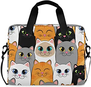 Waterproof Laptop Case Cute Kittens Cat Messenger Bag with Adjustable Shoulder Sleeve for 16 Inch Laptop Computer Briefcase 40x7.5x30cm
