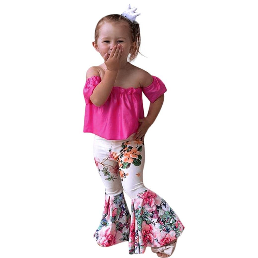 Iuhan Newborn Girls Clothes, 2Pcs Girls Off Shoulder Tops+Floral Bellbottoms Pants Set