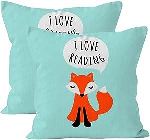2Pcs Cute Pillowcase Kids Design Aqua Blue Background I Love Reading Girl Throw Pillow 18 X 18 Square Fox Cotton Linen Pillowcase Cover Cushion
