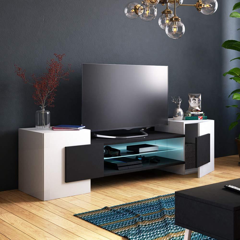 Blanc Mat//Noir Mat, sans LED, Style Contemporain Meuble TV//Meuble de Salon Selsey Charles