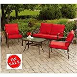 4 PC Patio Set Furniture One Table Two Sofa Chairs One Love Seat Metal Frame Fabric Cushions for Outdoor Use Garden Lawn Conversation Coffee Set & eBook by Easy&FunDeals