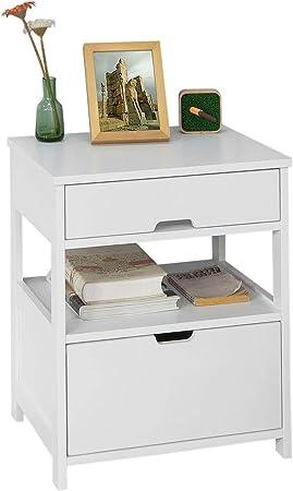 con cassetto,bianco,FRG258-W,IT SoBuy/® Comodini letto tavolino da salotto o soggiorno