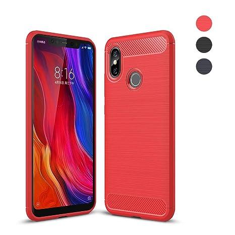 Amytech Funda Xiaomi Mi 8 Fundas Gel de Silicona Carcasa Fibra de Carbono Funda para Xiaomi Mi 8 Carcasa Case (Rojo)